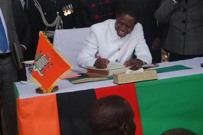 H.E Mr. President Lungu Assents to the Constitution
