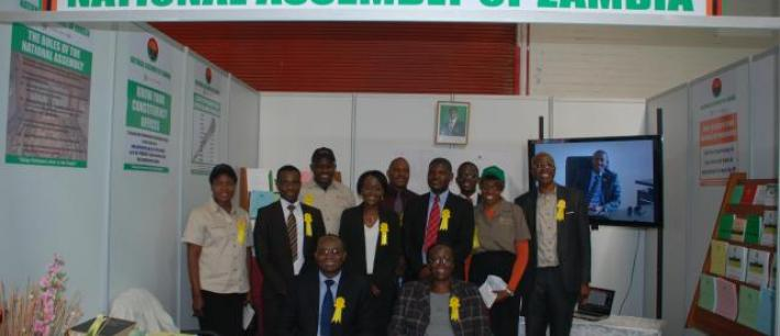 The Clerk, with members of staff at the stand