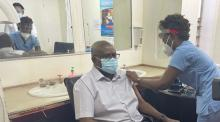Speaker Matibini receiving the second dose of the AstraZeneca vaccine